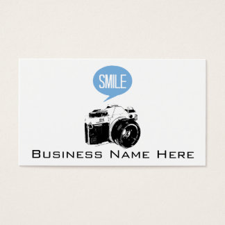 Vintage Camera, Smile Text Balloon, Photographer Business Card