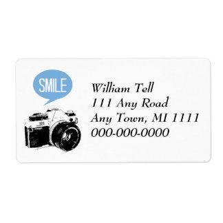 Vintage Camera, Smile Text Balloon, Photographer Label