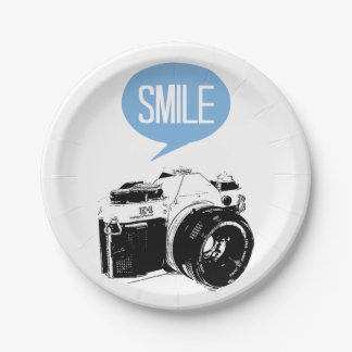 Vintage Camera, Smile Text Balloon, Photographer Paper Plate