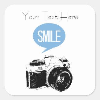 Vintage Camera, Smile Text Balloon, Photographer Square Sticker