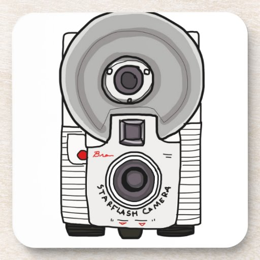 Vintage camera white and gray beverage coasters