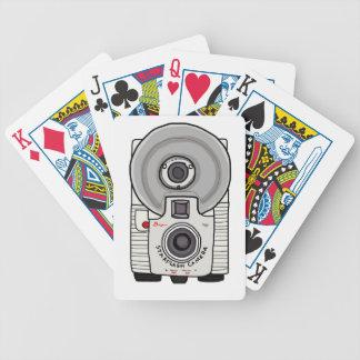 Vintage camera white and gray card decks