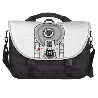 Vintage camera white and gray laptop bag