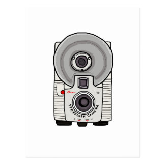 Vintage camera white and gray postcard