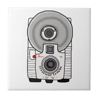 Vintage camera white and gray small square tile