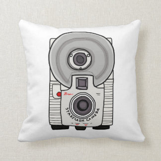 Vintage camera white and gray throw pillow