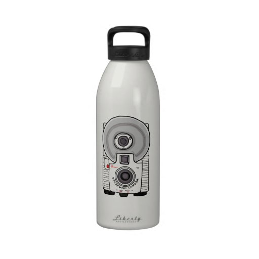 Vintage camera white and gray reusable water bottles