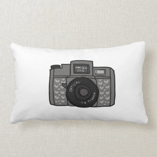Vintage Camera with hearts Throw Pillows