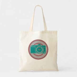 vintage camera with life message tote bags