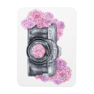 Vintage Camera with Pink Flowers Rectangular Photo Magnet