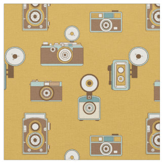 Vintage Cameras on Gold Background Fabric