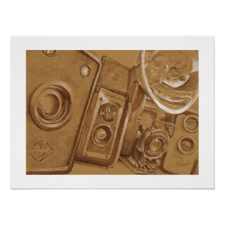 Vintage Cameras - Pencil Drawing in Sepia Tone Poster