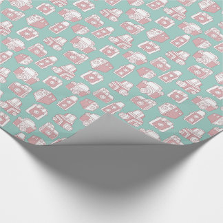 Vintage Cameras Retro Pattern (Blue) Wrapping Paper