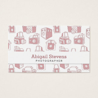 Vintage Cameras Retro Pattern (White / Pink) Business Card