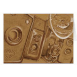 Vintage Cameras - Sepia tone pencil drawing Greeting Cards
