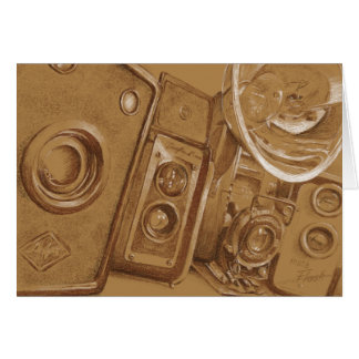 Vintage Cameras - Sepia tone pencil drawing Card