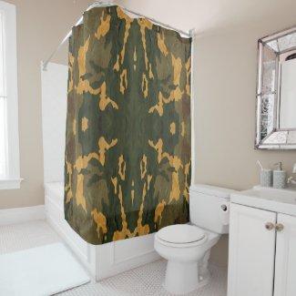 vintage camouflage shower curtain