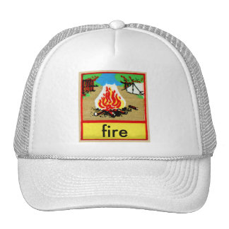Vintage Camp Fire Spelling Alphabet F is for Fire Mesh Hats