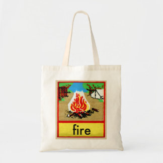 Vintage Camp Fire Spelling Alphabet F is for Fire Tote Bag