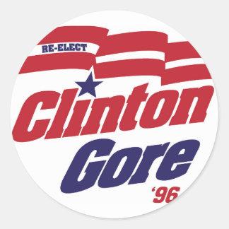 Vintage Campaign Logo Clinton/Gore 1996 Classic Round Sticker