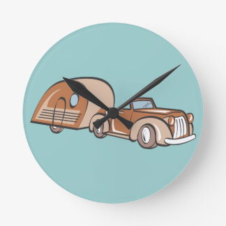 Vintage Camper and Auto Round Wallclocks