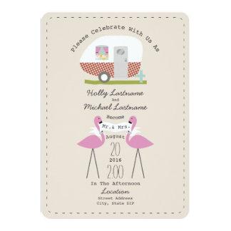 Vintage Camper And Flamingos Wedding 5x7 Paper Invitation Card