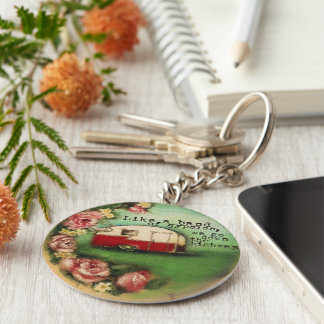Vintage Camper and Roses Key Chain
