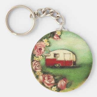 Vintage Camper Basic Round Button Keychain