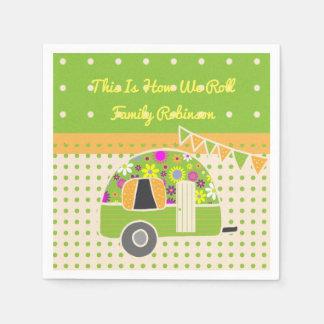 Vintage Camper Orange Green Polkadots Personalized Napkin