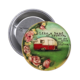 Vintage Camper & Roses Pinback Button