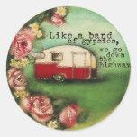 Vintage Camper & Roses Round Stickers