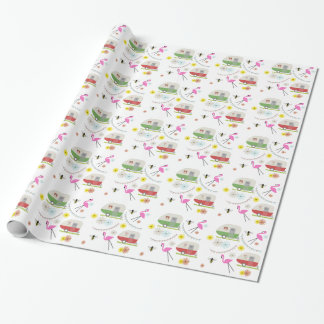 Vintage Campers & Pink Flamingos Wrapping Paper