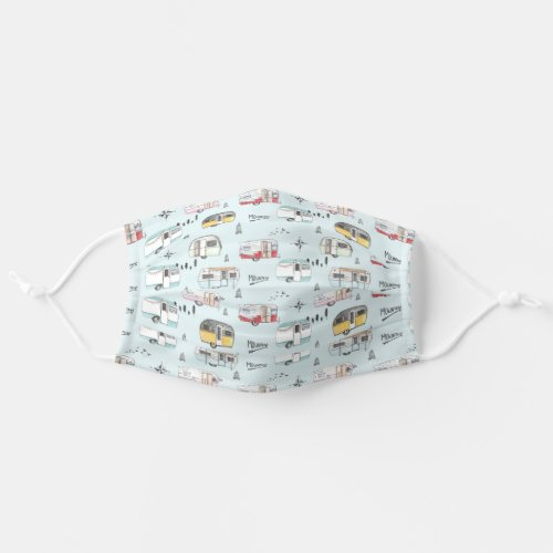 Vintage Campers to the Mountains Cloth Face Mask