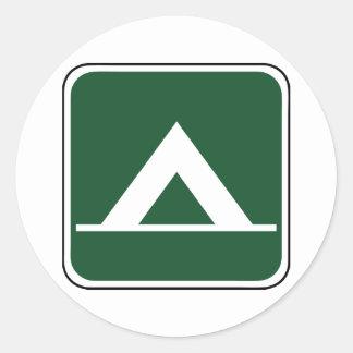 Vintage Camping Sign Round Sticker