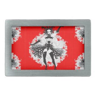 Vintage Can Can Dancer Red & Black Belt Buckle