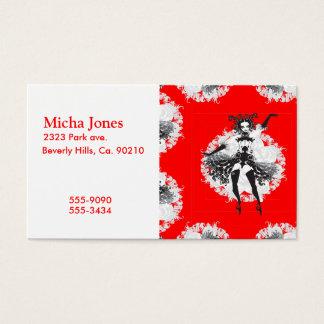 Vintage Can Can Dancer Red & Black Business Card