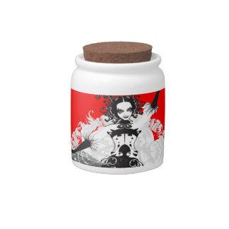 Vintage Can Can Dancer Red & Black Candy Jar