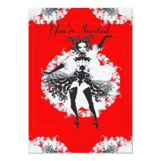 Vintage Can Can Dancer Red & Black Card