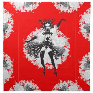 Vintage Can Can Dancer Red & Black Cloth Napkin