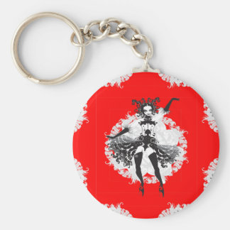 Vintage Can Can Dancer Red & Black Keychain