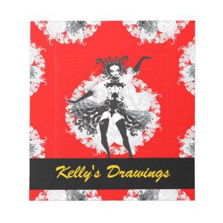 Vintage Can Can Dancer Red & Black Notepad