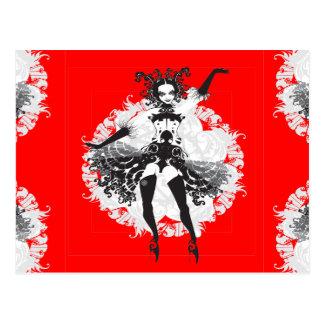 Vintage Can Can Dancer Red & Black Postcard