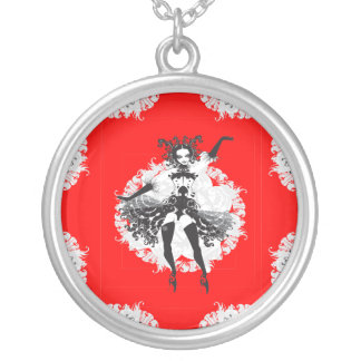 Vintage Can Can Dancer Red & Black Silver Plated Necklace
