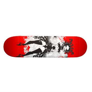 Vintage Can Can Dancer Red & Black Skateboard