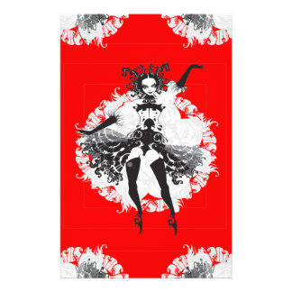 Vintage Can Can Dancer Red & Black Stationery