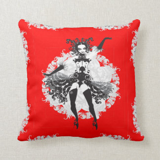 Vintage Can Can Dancer Red & Black Throw Pillow