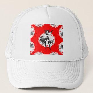 Vintage Can Can Dancer Red & Black Trucker Hat