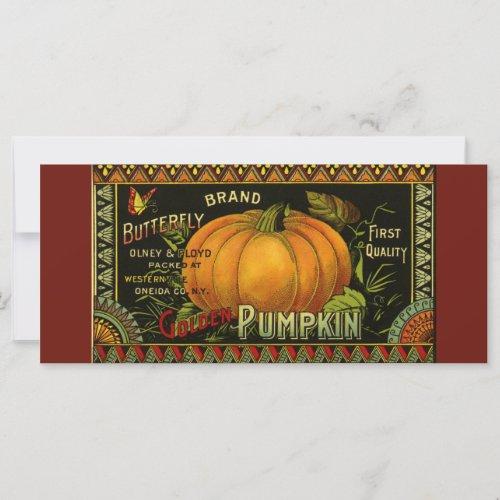 Vintage Can Label Art, Butterfly Pumpkin Vegetable