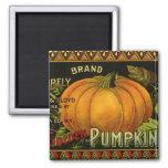 Vintage Can Label Art, Butterfly Pumpkin Vegetable 2 Inch Square Magnet