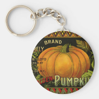 Vintage Can Label Art, Butterfly Pumpkin Vegetable Basic Round Button Keychain